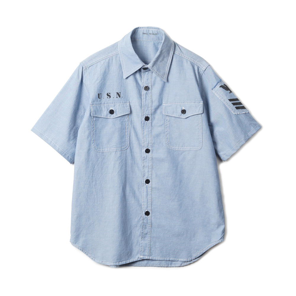 US Type NAVY Chambray Shirts S/S Stencil 'Blue'